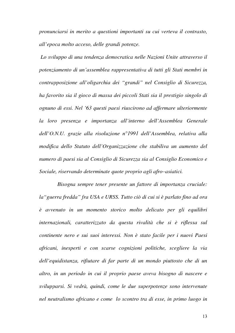 Anteprima della tesi: Gli Stati dell'Africa Sub-Sahariana e la politica del non allineamento: dall'indipendenza alla caduta del muro di Berlino, Pagina 6