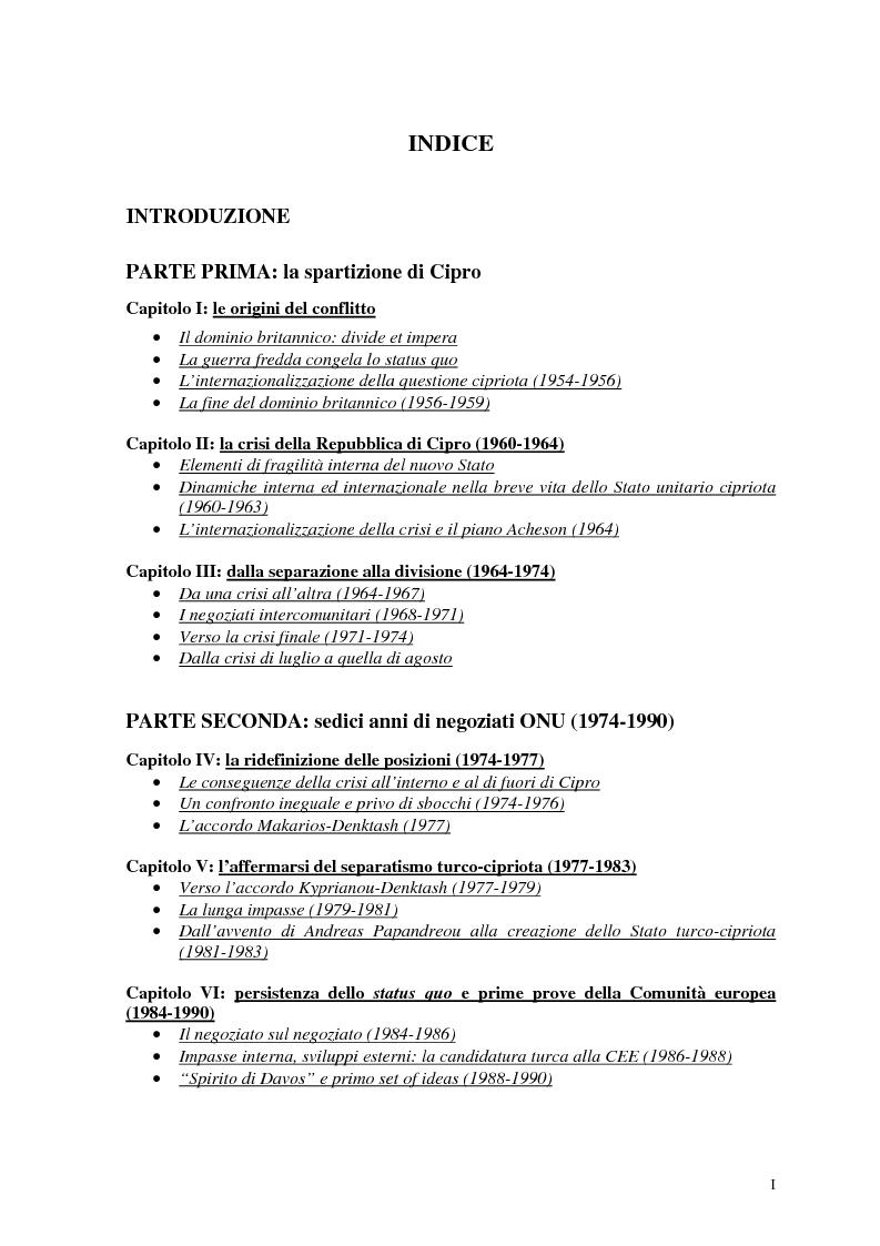 Indice della tesi: Storia diplomatica della questione cipriota e sua incidenza sui rapporti euro-turchi, Pagina 1