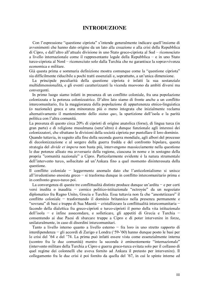 Anteprima della tesi: Storia diplomatica della questione cipriota e sua incidenza sui rapporti euro-turchi, Pagina 1