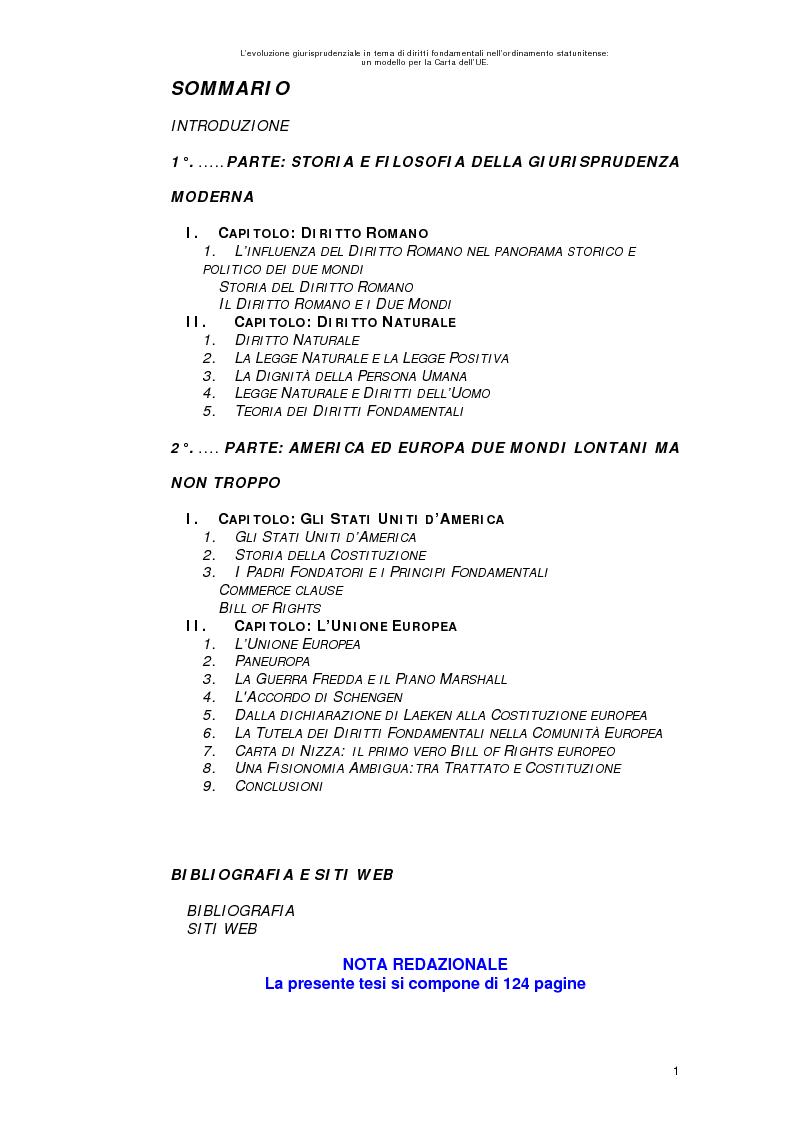 Indice della tesi: L'evoluzione giurisprudenziale in tema di diritti fondamentali nell'ordinamento statunitense: un modello per la carta dell'UE., Pagina 1