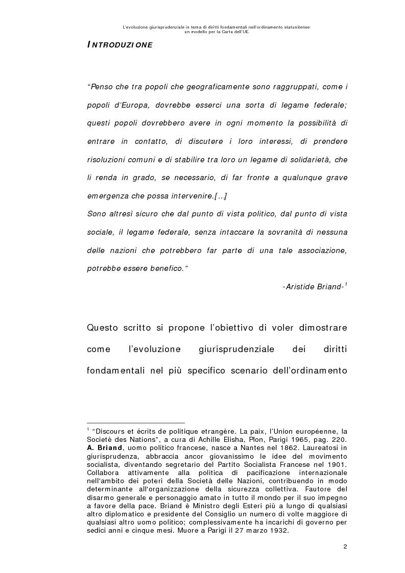 Anteprima della tesi: L'evoluzione giurisprudenziale in tema di diritti fondamentali nell'ordinamento statunitense: un modello per la carta dell'UE., Pagina 1
