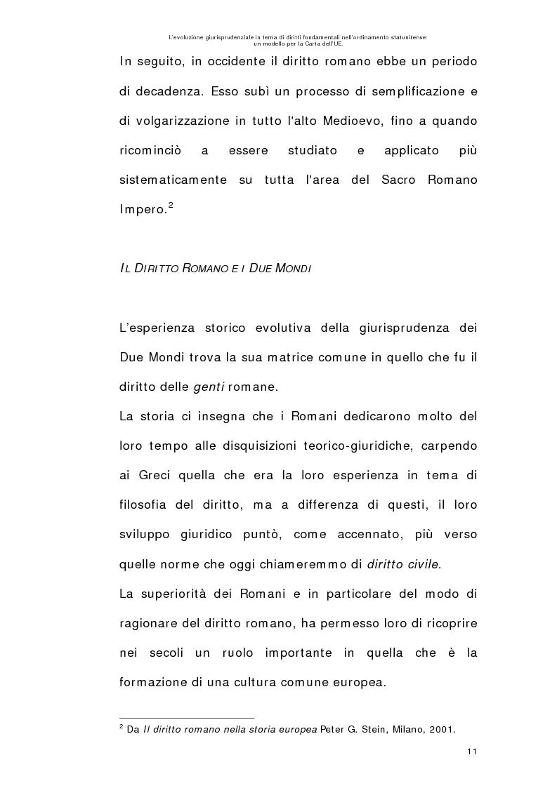 Anteprima della tesi: L'evoluzione giurisprudenziale in tema di diritti fondamentali nell'ordinamento statunitense: un modello per la carta dell'UE., Pagina 10