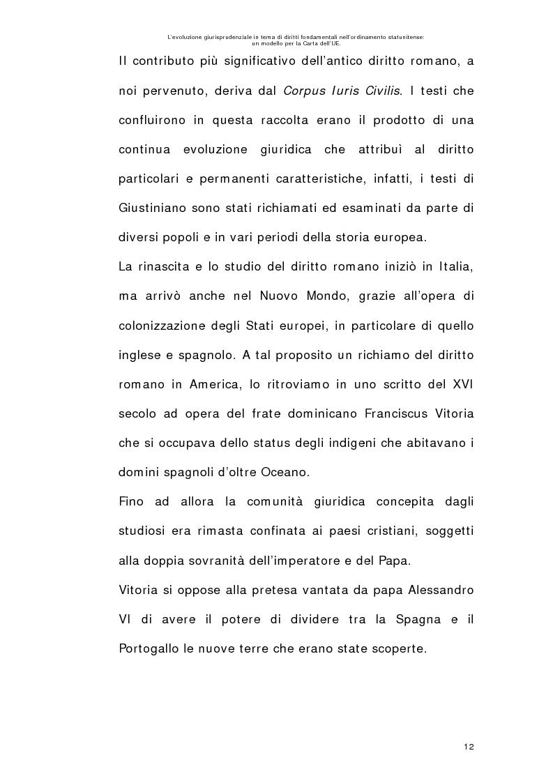 Anteprima della tesi: L'evoluzione giurisprudenziale in tema di diritti fondamentali nell'ordinamento statunitense: un modello per la carta dell'UE., Pagina 11