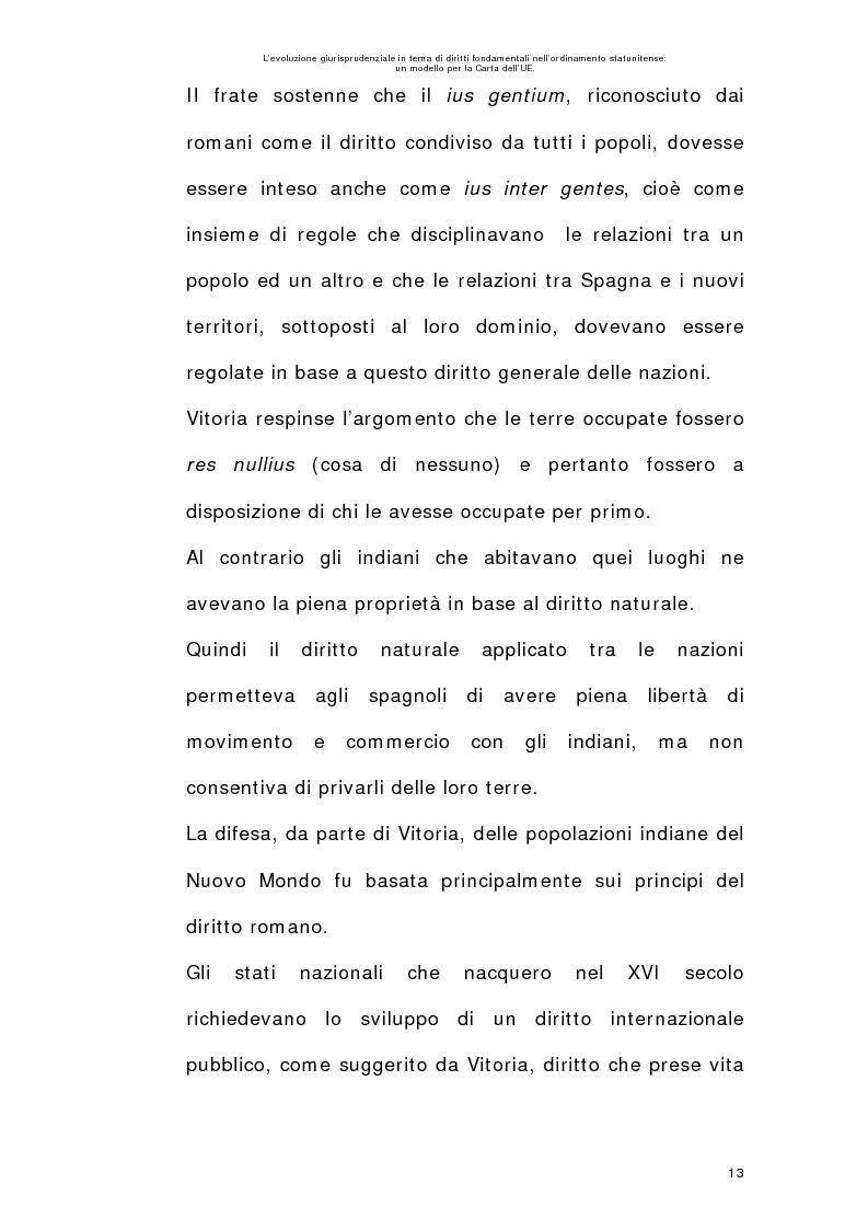 Anteprima della tesi: L'evoluzione giurisprudenziale in tema di diritti fondamentali nell'ordinamento statunitense: un modello per la carta dell'UE., Pagina 12