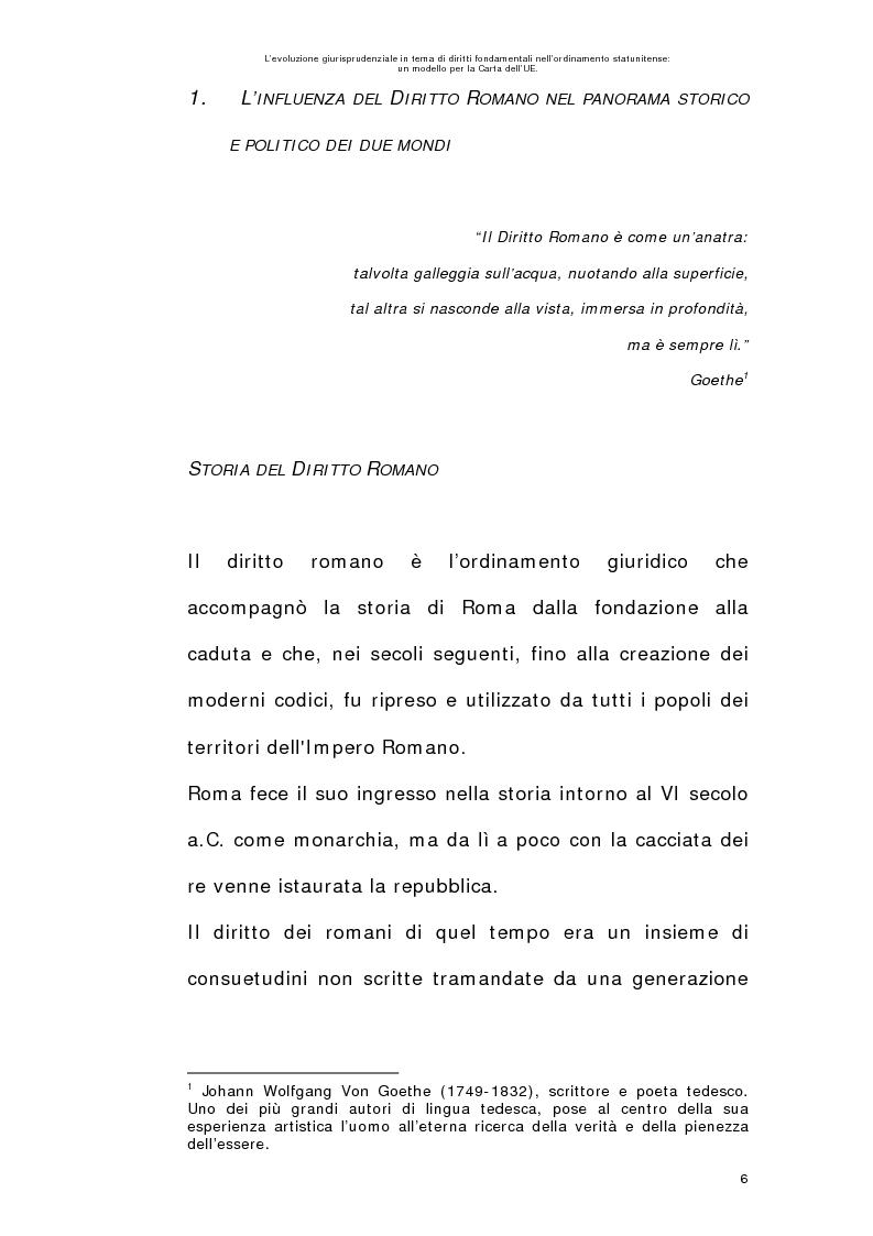 Anteprima della tesi: L'evoluzione giurisprudenziale in tema di diritti fondamentali nell'ordinamento statunitense: un modello per la carta dell'UE., Pagina 5