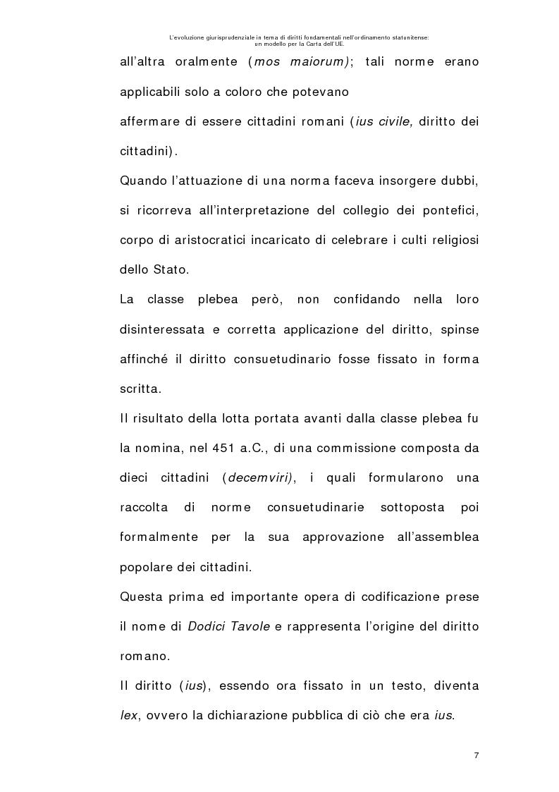 Anteprima della tesi: L'evoluzione giurisprudenziale in tema di diritti fondamentali nell'ordinamento statunitense: un modello per la carta dell'UE., Pagina 6