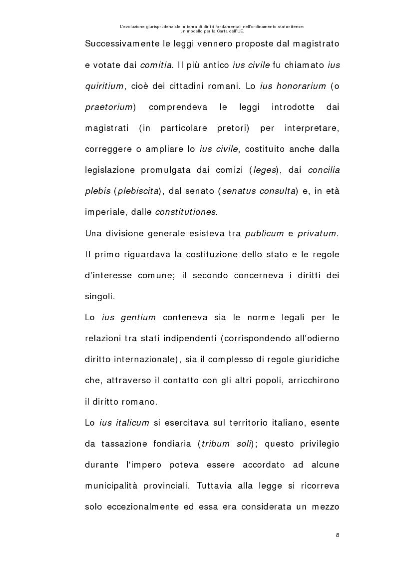 Anteprima della tesi: L'evoluzione giurisprudenziale in tema di diritti fondamentali nell'ordinamento statunitense: un modello per la carta dell'UE., Pagina 7