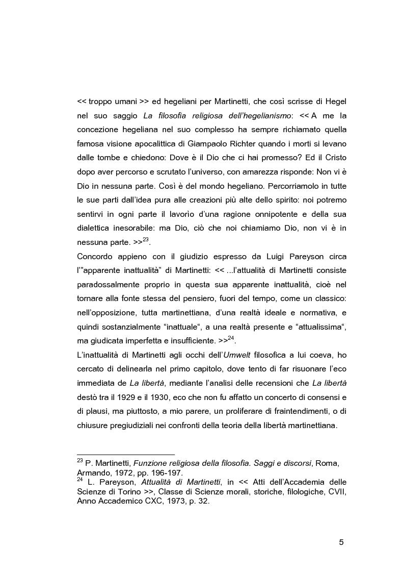 Anteprima della tesi: Il problema della libertà in Piero Martinetti, Pagina 5