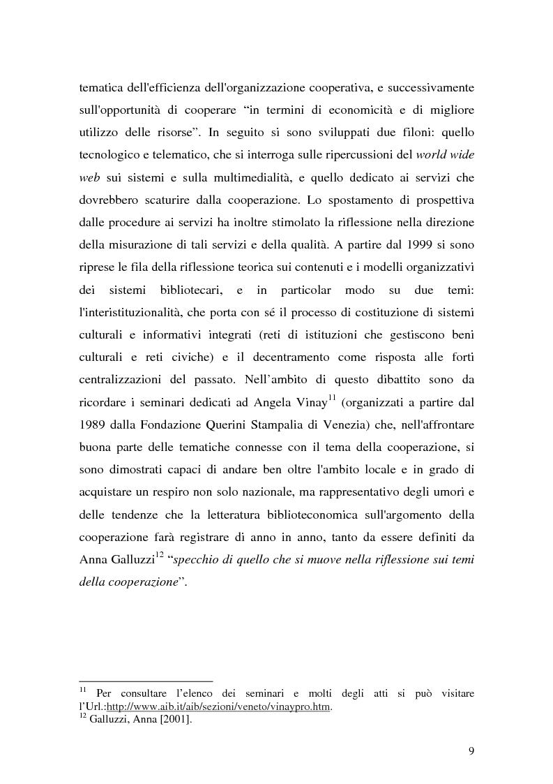 Anteprima della tesi: La cooperazione fra biblioteche pubbliche: sistemi e centri servizi, Pagina 7
