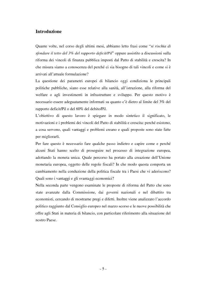 Anteprima della tesi: La riforma del Patto di stabilità, Pagina 1