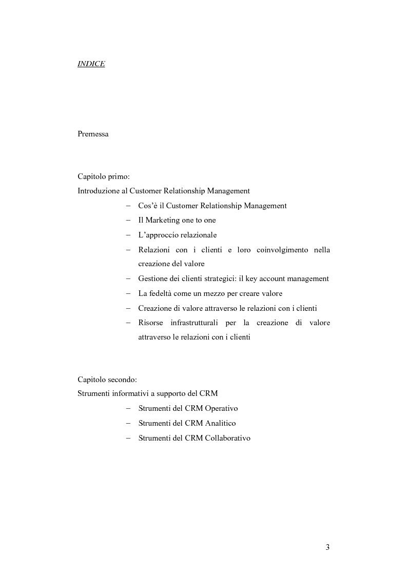 Indice della tesi: CRM e sistemi informativi a supporto, Pagina 1