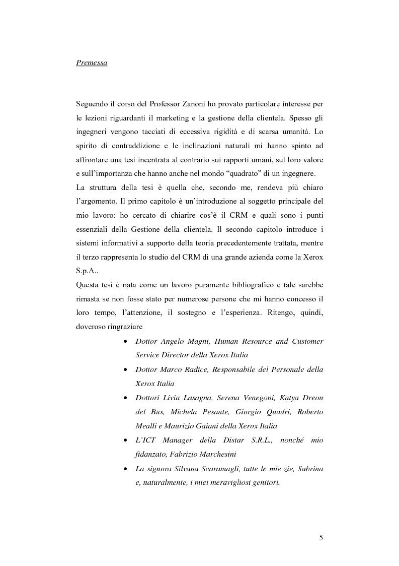 CRM e sistemi informativi a supporto - Tesi di Laurea
