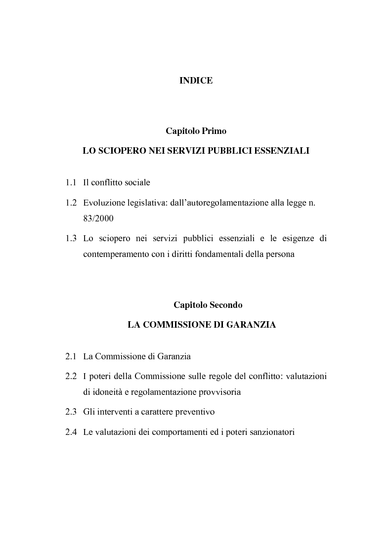 Indice della tesi: Sciopero nei servizi pubblici essenziali ed apparato sanzionatorio, Pagina 1