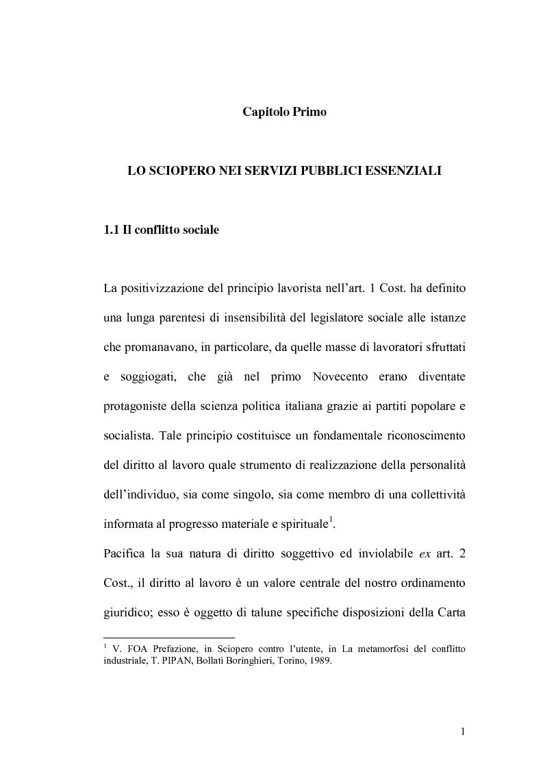 Anteprima della tesi: Sciopero nei servizi pubblici essenziali ed apparato sanzionatorio, Pagina 1