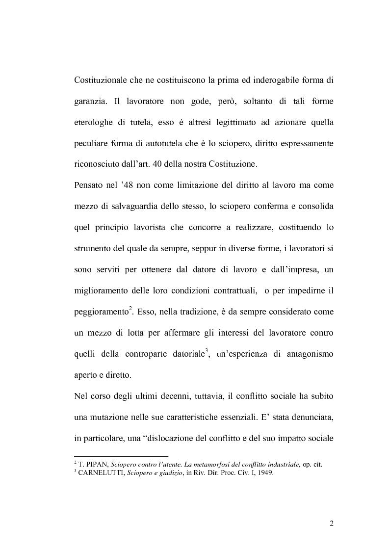 Anteprima della tesi: Sciopero nei servizi pubblici essenziali ed apparato sanzionatorio, Pagina 2