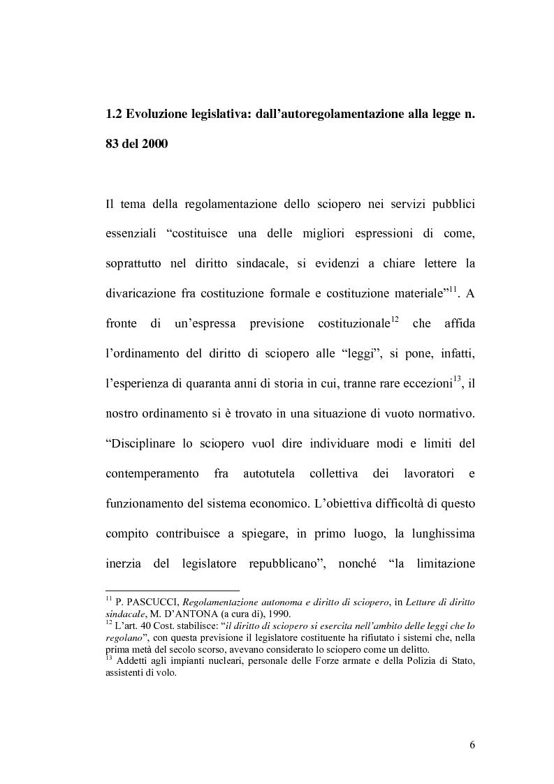 Anteprima della tesi: Sciopero nei servizi pubblici essenziali ed apparato sanzionatorio, Pagina 6