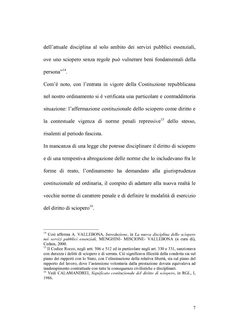 Anteprima della tesi: Sciopero nei servizi pubblici essenziali ed apparato sanzionatorio, Pagina 7