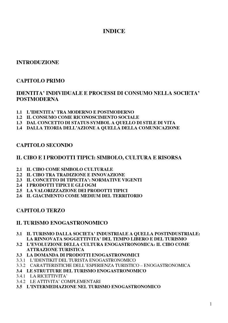 Indice della tesi: Prodotti tipici e turismo enogastronomico: come valorizzare un territorio, Pagina 1