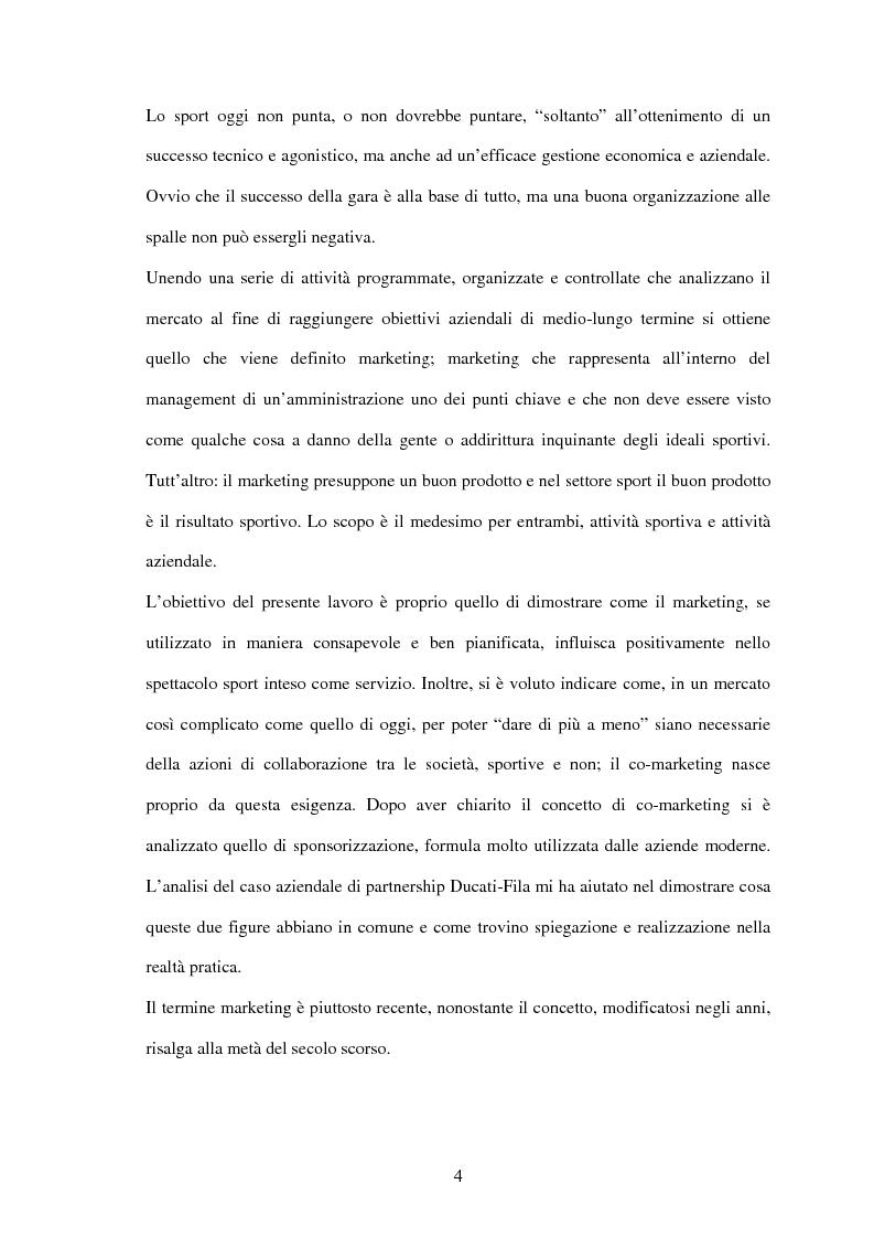 Anteprima della tesi: Il settore sportivo tra co-marketing e sponsorizzazione: il caso Ducati-Fila, Pagina 2