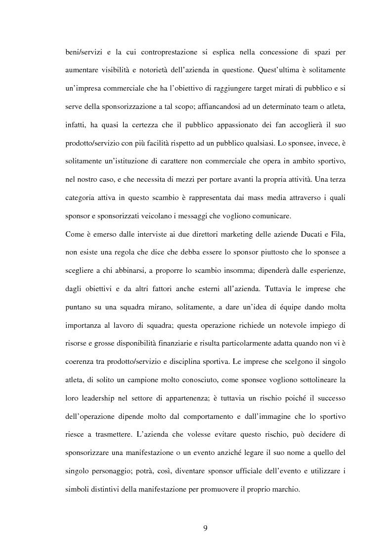 Anteprima della tesi: Il settore sportivo tra co-marketing e sponsorizzazione: il caso Ducati-Fila, Pagina 7