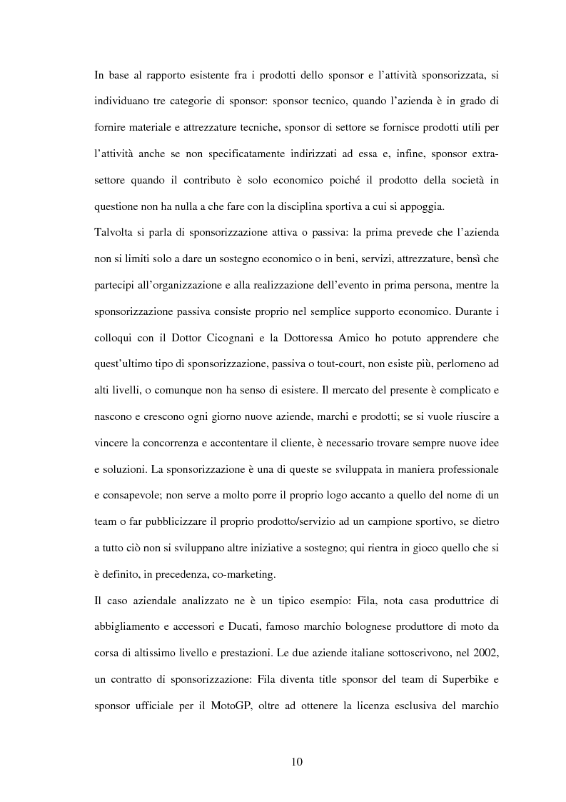 Anteprima della tesi: Il settore sportivo tra co-marketing e sponsorizzazione: il caso Ducati-Fila, Pagina 8