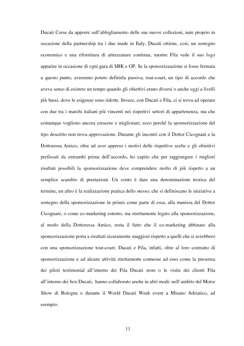 Anteprima della tesi: Il settore sportivo tra co-marketing e sponsorizzazione: il caso Ducati-Fila, Pagina 9