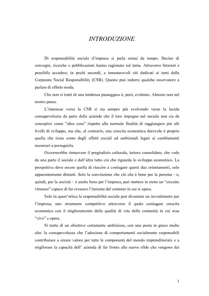 Anteprima della tesi: La responsabilità sociale delle imprese nel settore agroalimentare; il caso della C. Fiorucci spa, Pagina 1