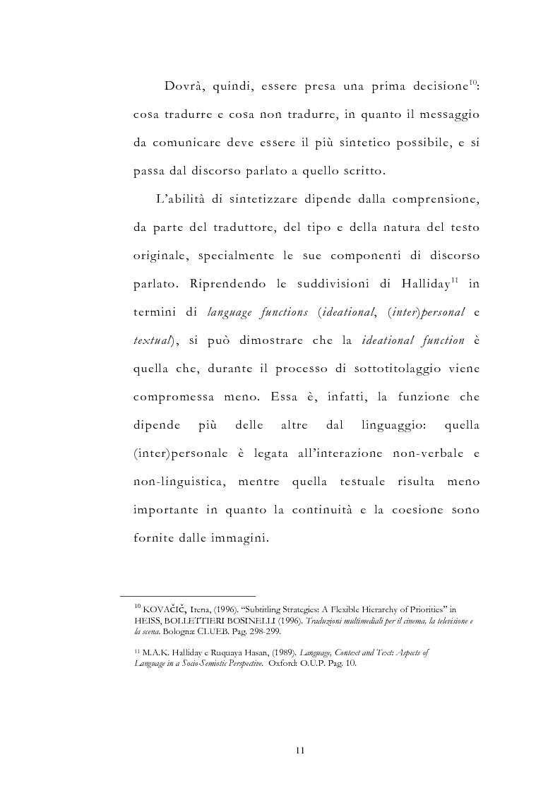 Anteprima della tesi: Traduzione filmica e adattamento al pubblico d'arrivo: il caso della versione italiana di ''Four Weddings and a Funeral'', Pagina 11