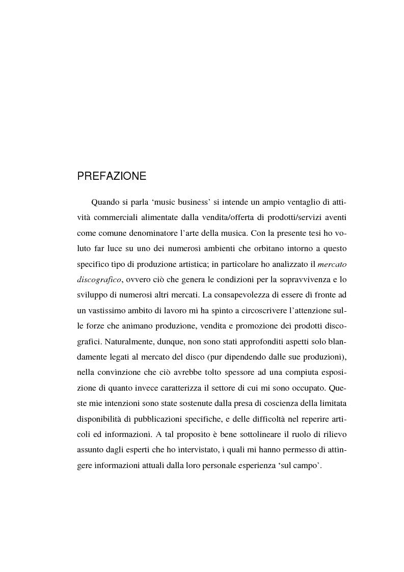 Anteprima della tesi: Il Mercato Discografico - contesto, caratteristiche e proposta di ricerca, Pagina 1