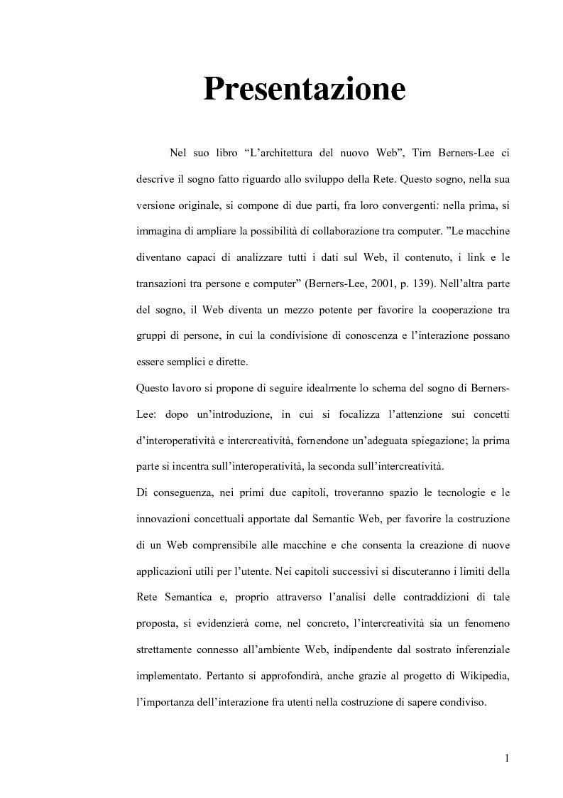 Anteprima della tesi: Interoperatività e intercreatività in rete: dall'uso della semantica alla costruzione di conoscenza condivisa, Pagina 1