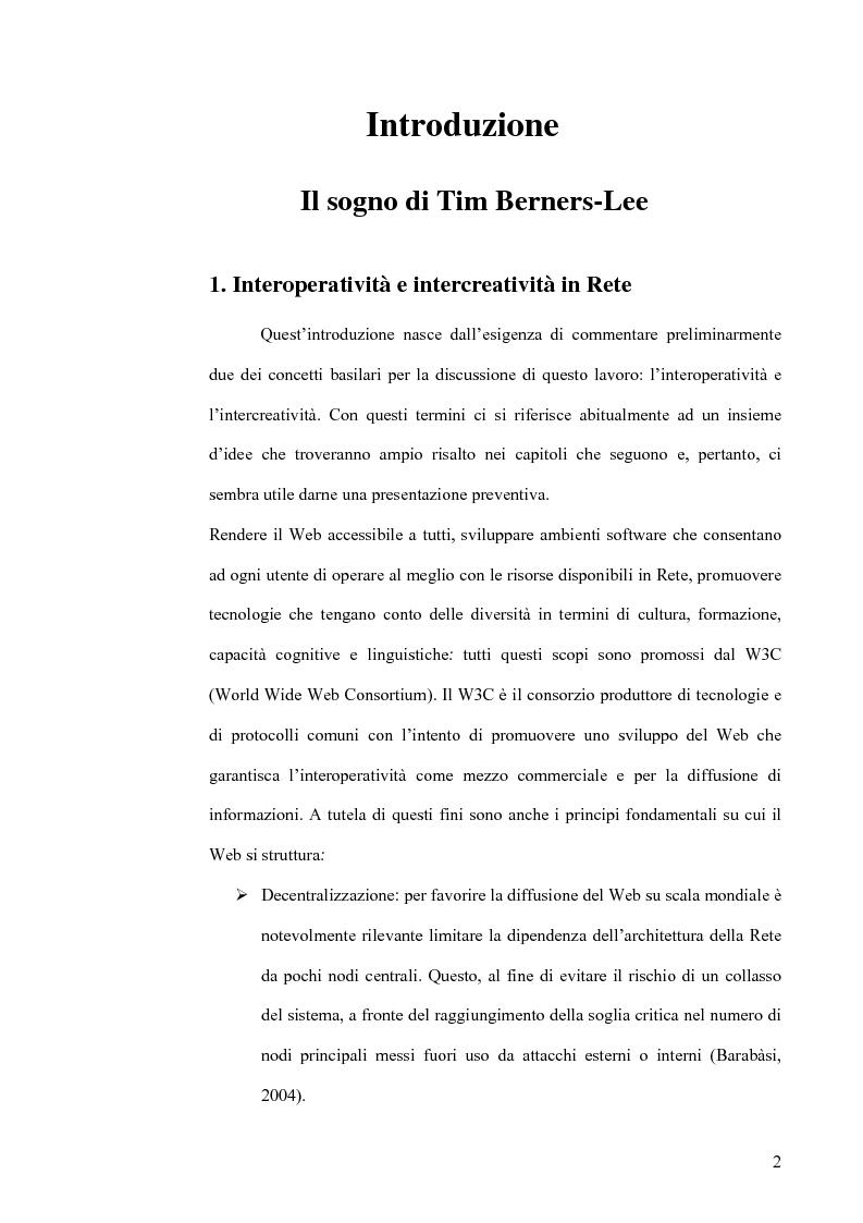 Anteprima della tesi: Interoperatività e intercreatività in rete: dall'uso della semantica alla costruzione di conoscenza condivisa, Pagina 2