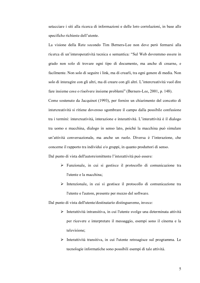 Anteprima della tesi: Interoperatività e intercreatività in rete: dall'uso della semantica alla costruzione di conoscenza condivisa, Pagina 5