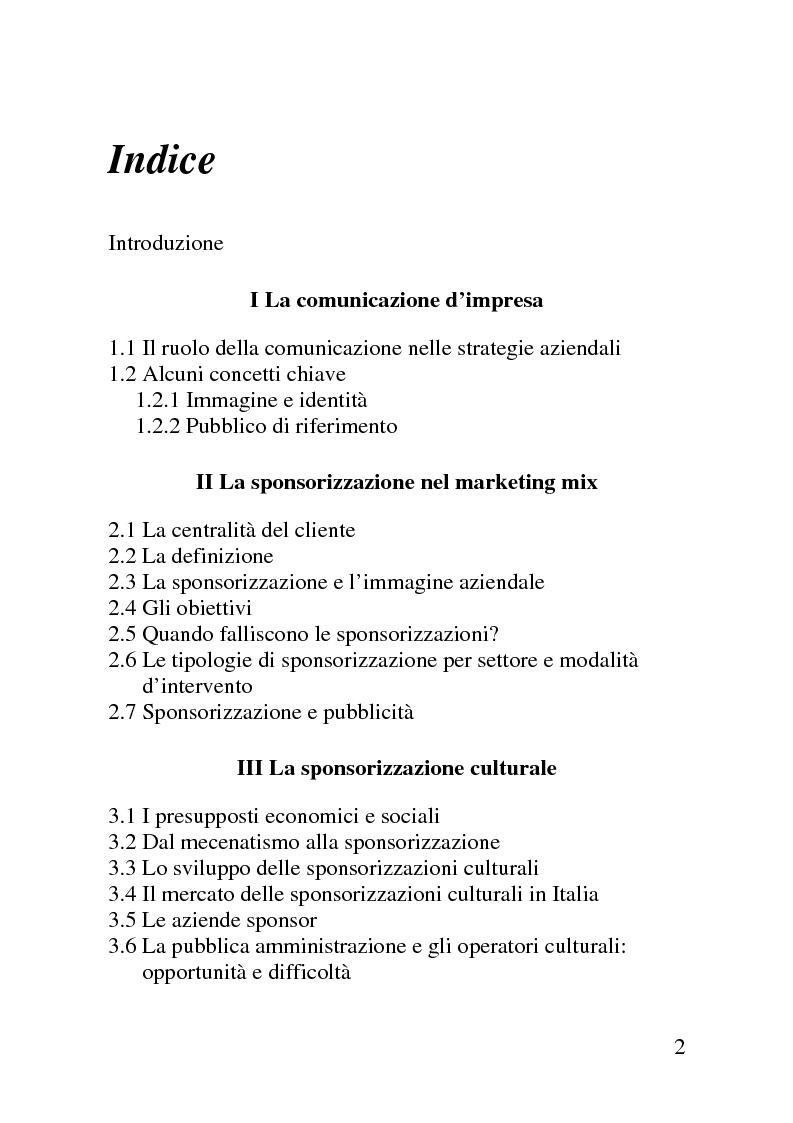 Indice della tesi: Il mercato delle sponsorizzazioni culturali in Italia, i casi Corriere della Sera e Vodafone, Pagina 1