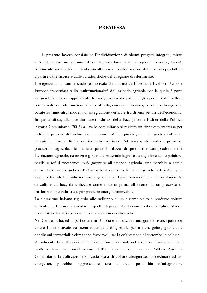 Anteprima della tesi: Analisi e caratteristiche di una nuova filiera di biocarburanti in Toscana, Pagina 1