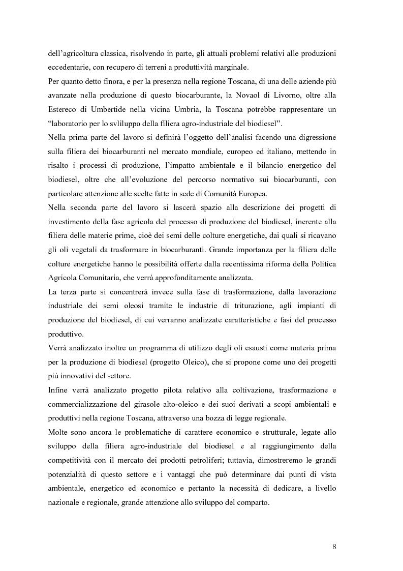 Anteprima della tesi: Analisi e caratteristiche di una nuova filiera di biocarburanti in Toscana, Pagina 2