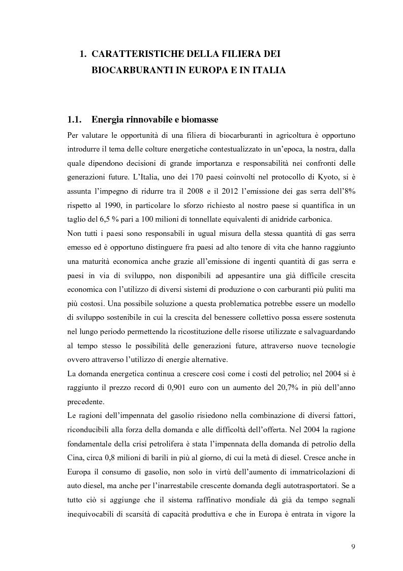 Anteprima della tesi: Analisi e caratteristiche di una nuova filiera di biocarburanti in Toscana, Pagina 3
