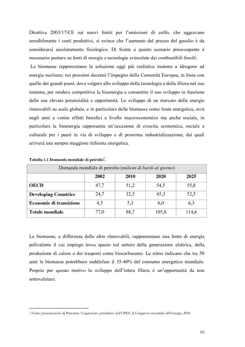 Anteprima della tesi: Analisi e caratteristiche di una nuova filiera di biocarburanti in Toscana, Pagina 4