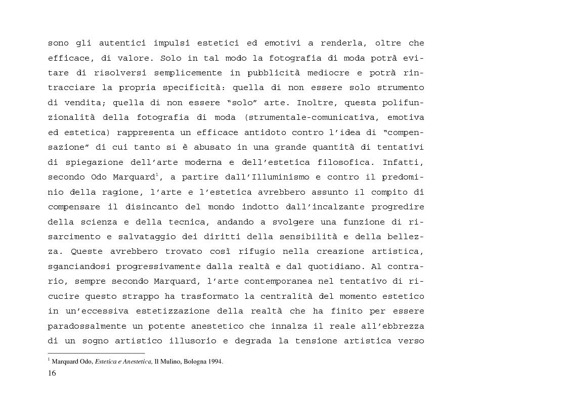 Anteprima della tesi: L'immagine sensibile e la sensibilità all'immagine. Estetica ed emozione nella fotografia di moda tra arte e business., Pagina 12