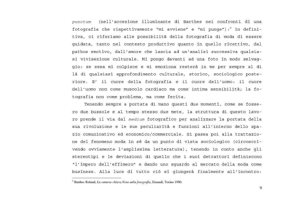Anteprima della tesi: L'immagine sensibile e la sensibilità all'immagine. Estetica ed emozione nella fotografia di moda tra arte e business., Pagina 5