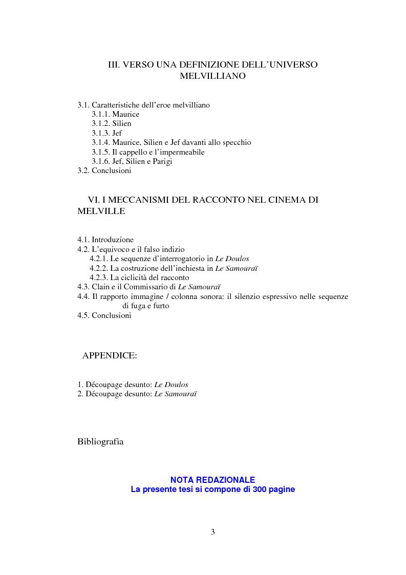 Indice della tesi: Il cinema noir di Jean-Pierre Melville: la circolarità della simulazione, Pagina 2