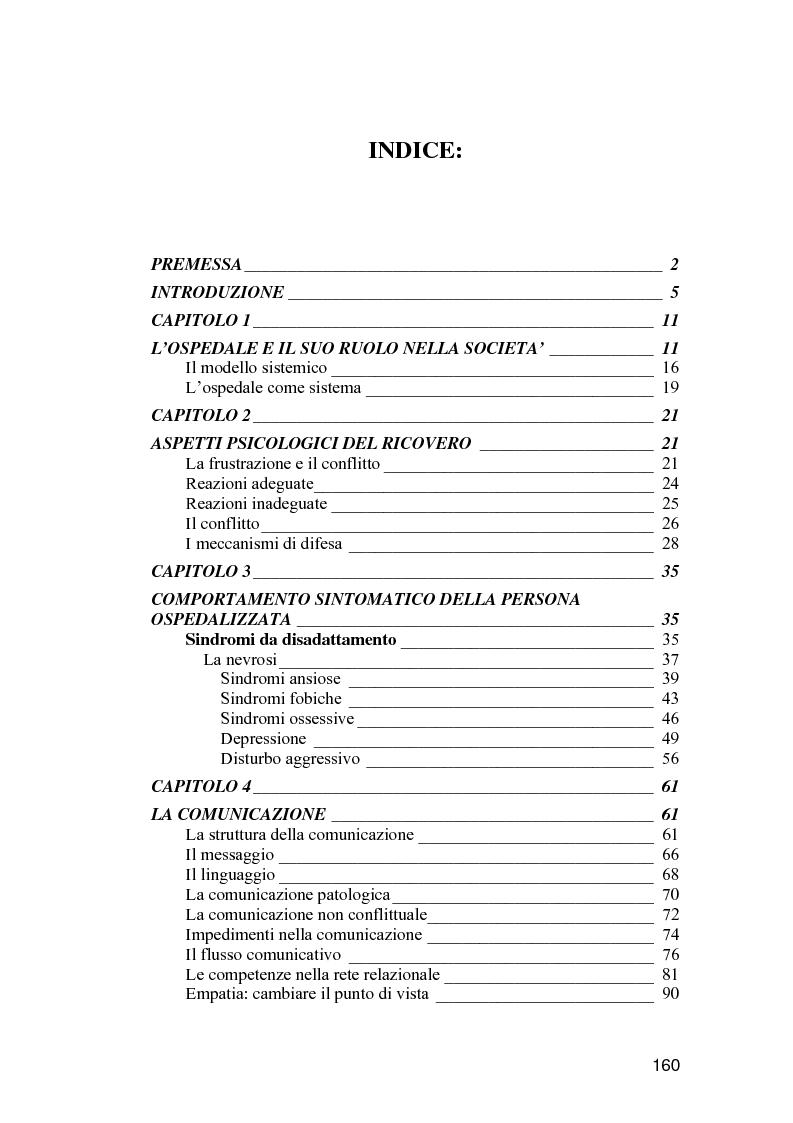 Indice della tesi: La comunicazione come strumento terapeutico: l'importanza della raccolta dei dati nel processo di nursing, Pagina 1