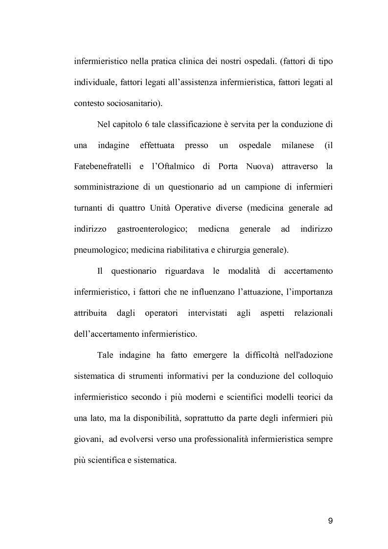 Anteprima della tesi: La comunicazione come strumento terapeutico: l'importanza della raccolta dei dati nel processo di nursing, Pagina 8