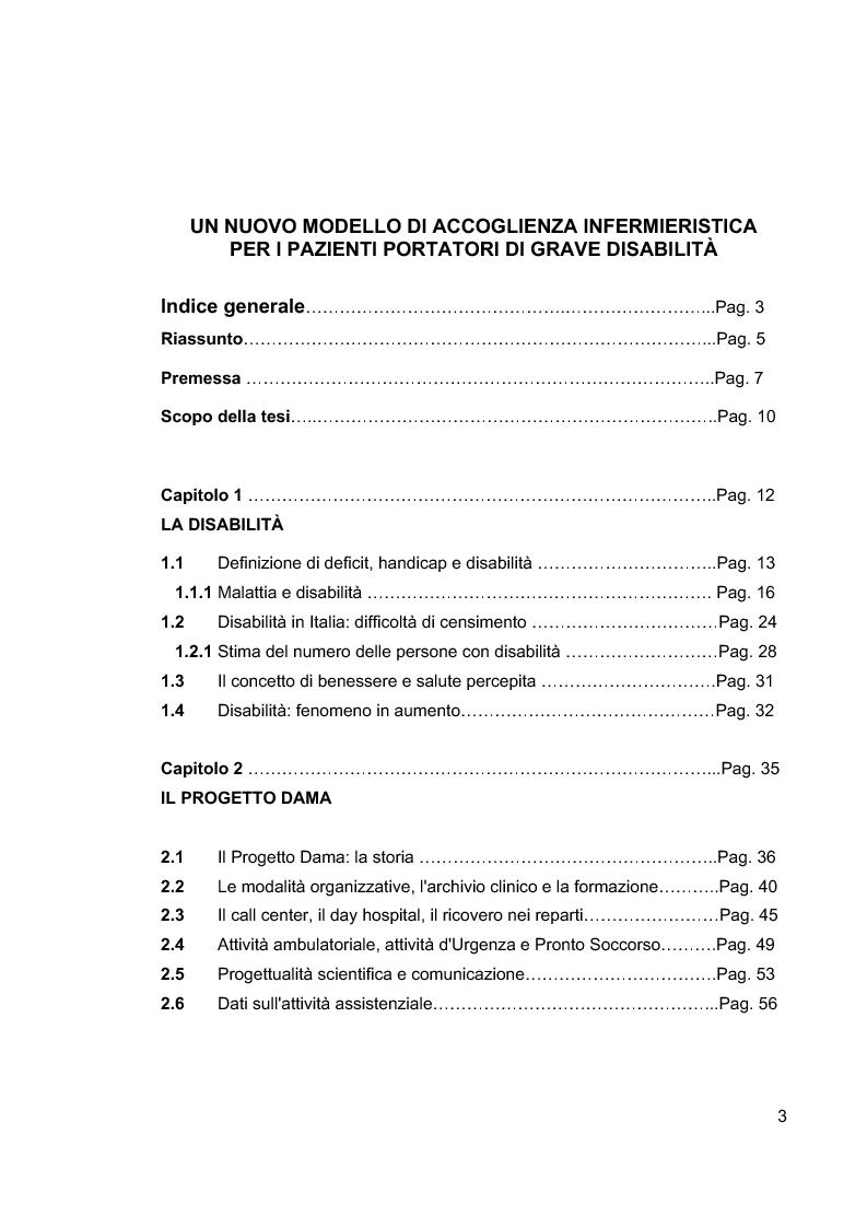 Indice della tesi: Un nuovo modello di accoglienza infermieristica per i pazienti portatori di grave disabilità, Pagina 1