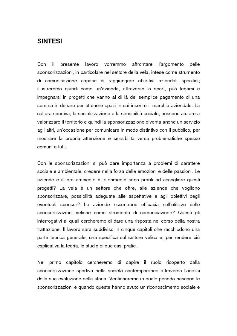 Anteprima della tesi: Le sponsorizzazioni nel settore della vela: i casi Bix-Dynameeting e Paul&Shark, Pagina 1