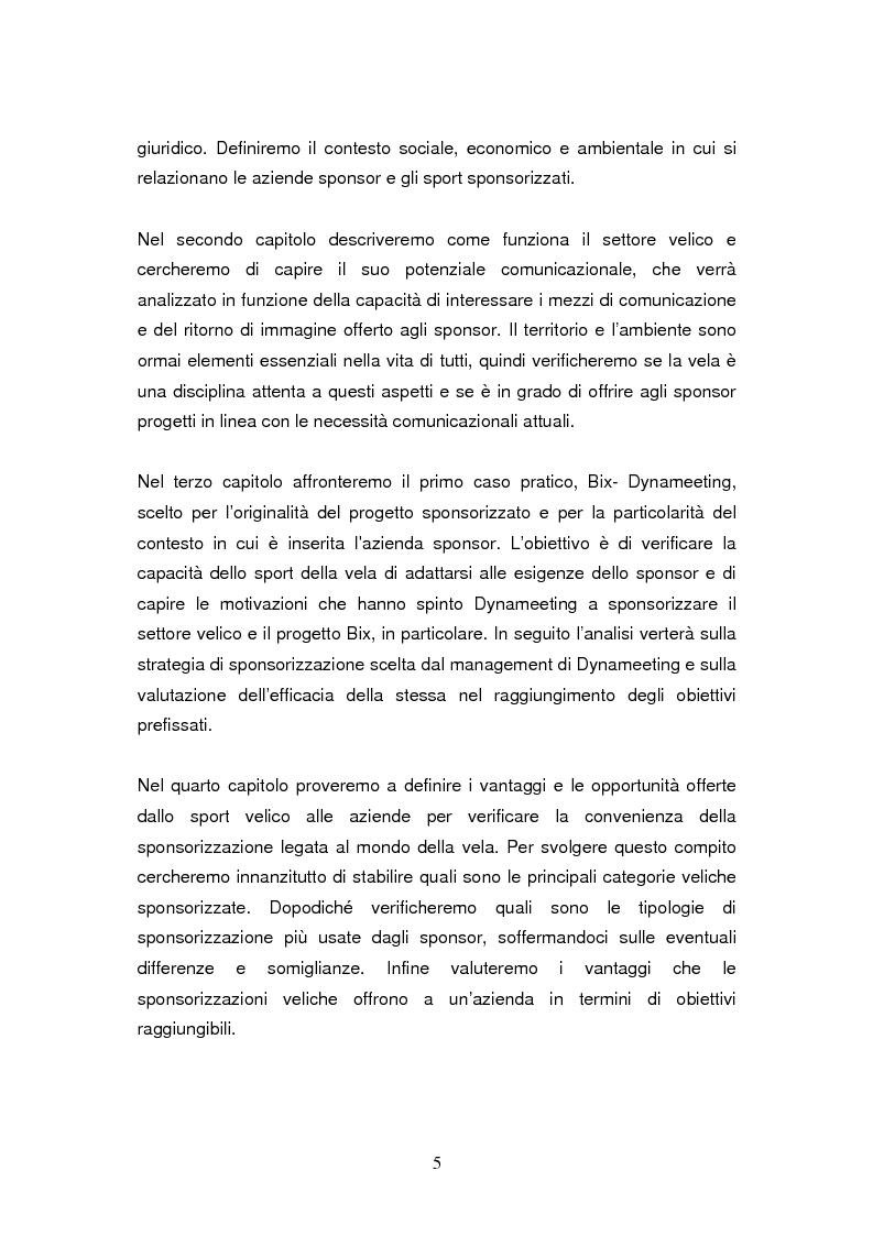 Anteprima della tesi: Le sponsorizzazioni nel settore della vela: i casi Bix-Dynameeting e Paul&Shark, Pagina 2