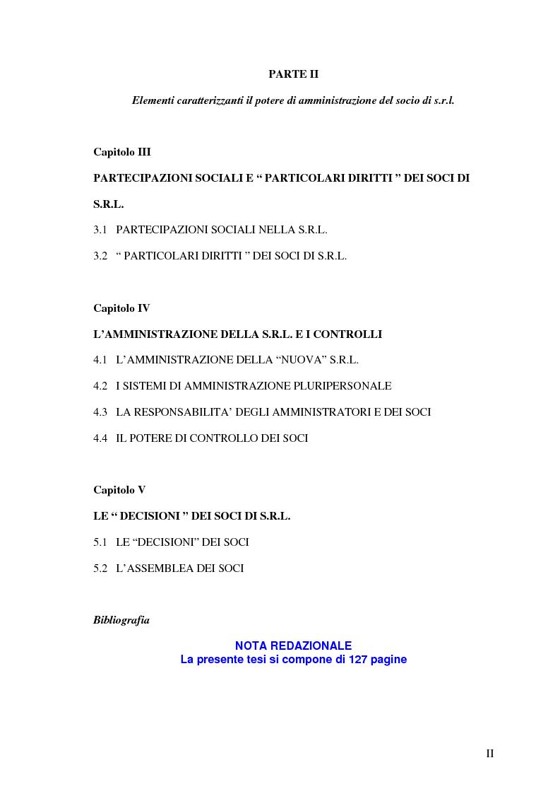 Indice della tesi: Il potere di amministrazione del socio nella nuova S.r.l., Pagina 2