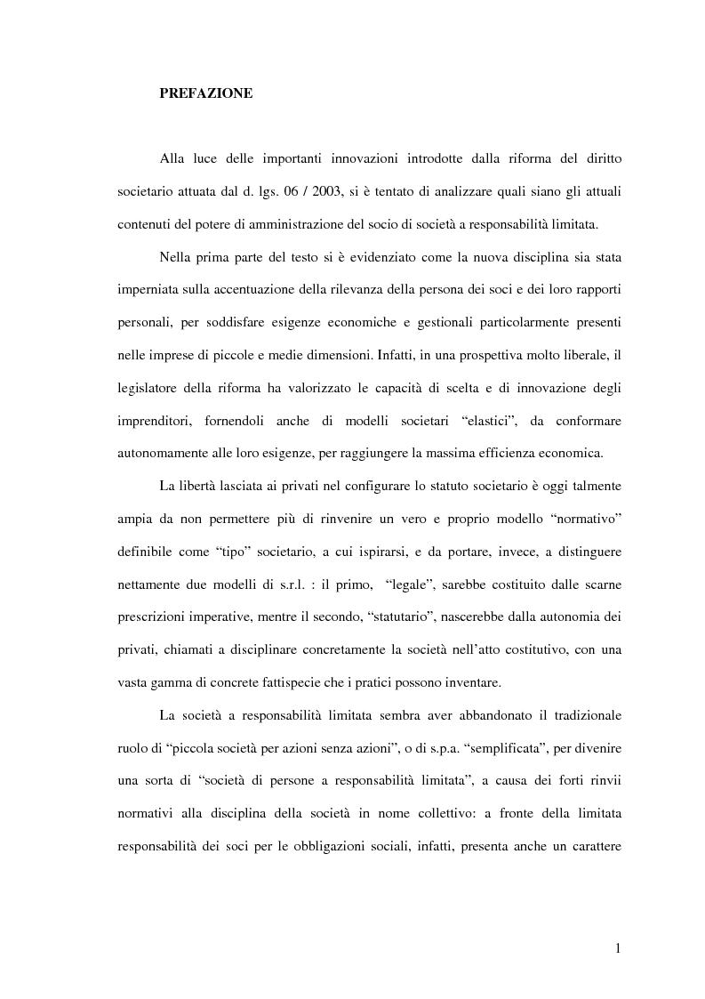 Anteprima della tesi: Il potere di amministrazione del socio nella nuova S.r.l., Pagina 1