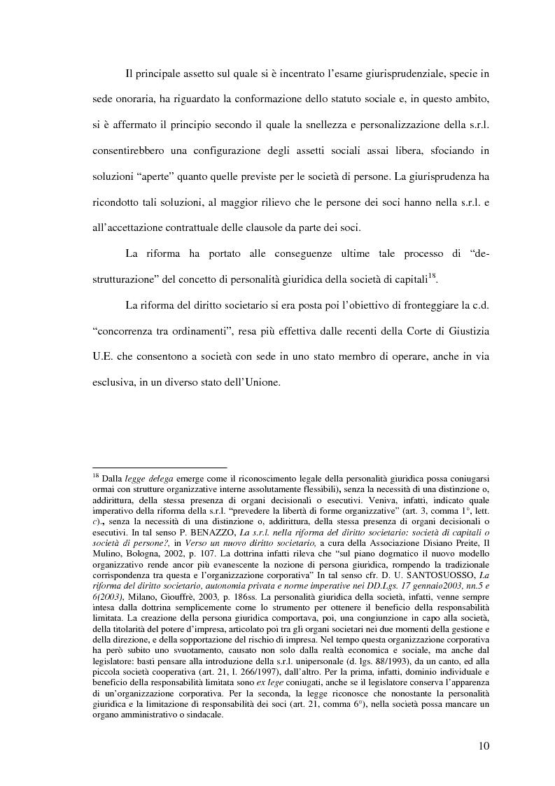 Anteprima della tesi: Il potere di amministrazione del socio nella nuova S.r.l., Pagina 10