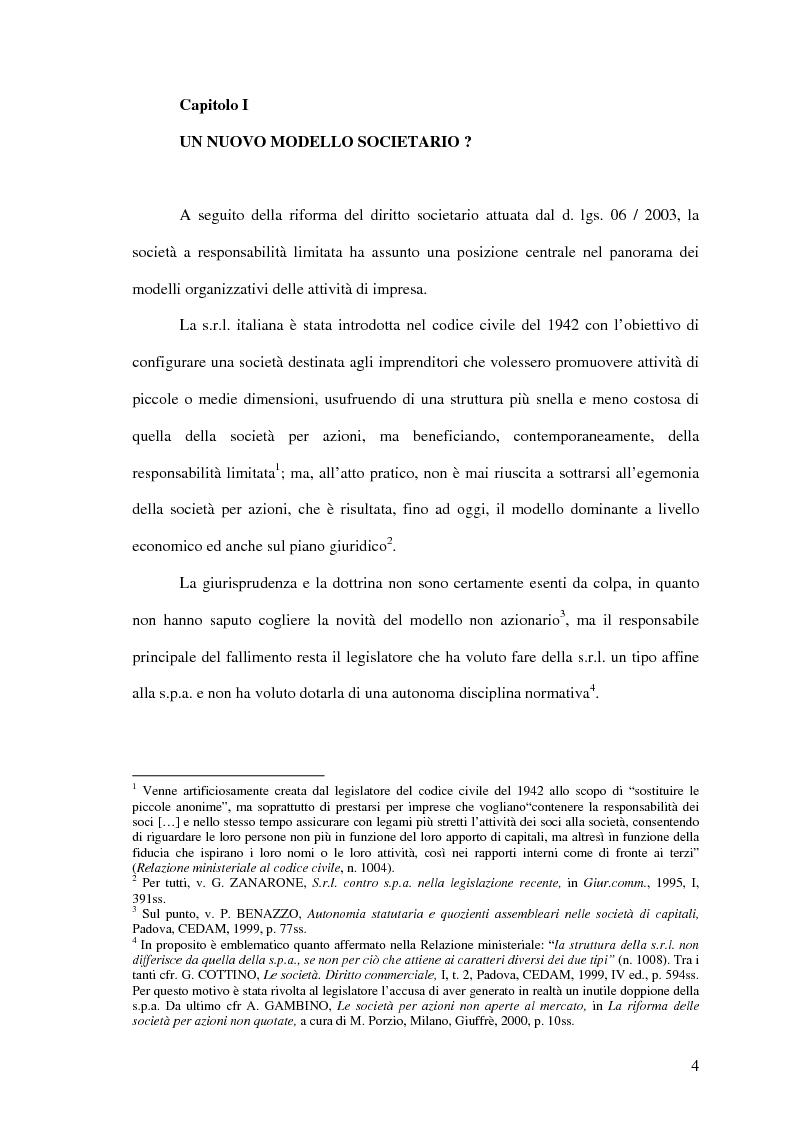 Anteprima della tesi: Il potere di amministrazione del socio nella nuova S.r.l., Pagina 4