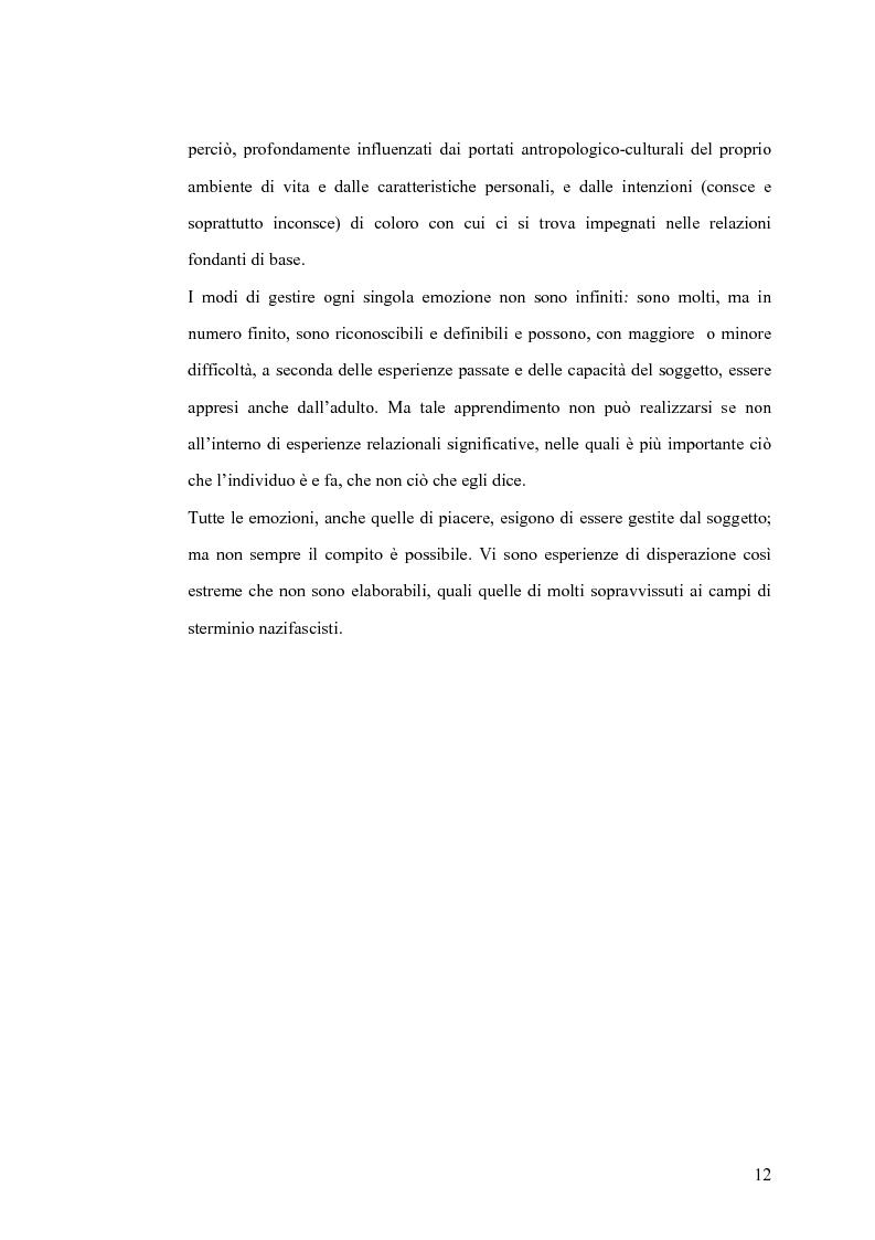 Anteprima della tesi: Il gesto e l'anima. Il ruolo dell'educatore come interprete dell'emotività. Esperienza in una casa di riposo., Pagina 12